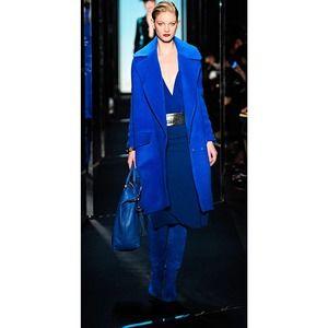 Diane Von Furstenberg Elvina Slit Crepe Blue Skirt